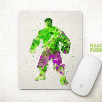Hulk Mouse Pad, Watercolor Art, Avergers Mousepad, Office Deco, Holiday Gift, Art Print, For Him, Desk Decor, Superhero Accessories