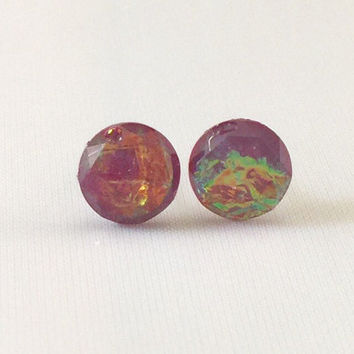 SALE Earrings Maroon Fire Opal Stud Earrings Boho Jewelry 8MM