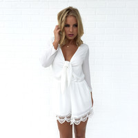 Heart in Knots Romper In White