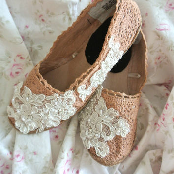 Espadrille, women's lace embellished shoes, spring floral romantic, shabby coffee stained, french cottage chic, 8.5