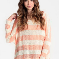 Peach Daiquiri Striped Sweater - $29.00 : ThreadSence, Women's Indie & Bohemian Clothing, Dresses, & Accessories
