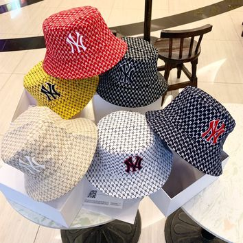"""New York Yankees"" Unisex Sport Fashion Letter Reversible Logo Embroidery Fisherman Cap Couple Casual Bucket Hat Sun Hat"