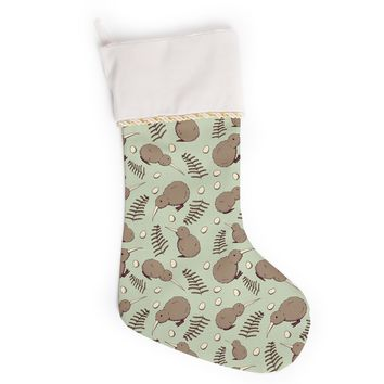 "Stephanie Vaeth ""Kiwi Bird"" Brown Green Illustration Christmas Stocking"