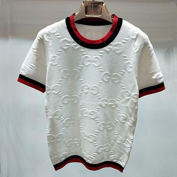GUCCI Women Fashion Hollow Short Sleeve Shirt Top Tee