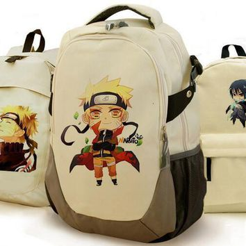 Naruto Uchiha Sasuke Print Backpack Anime Naruto Canvas Backpacks School Bookbags
