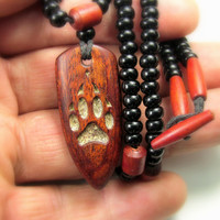 Wood pendant,Wolf paw,Wood Pendant Necklace,Ethnic Necklace Wood,Wood Jewelry,Hand Carved Wood Pendant,Wood Art,Red wood