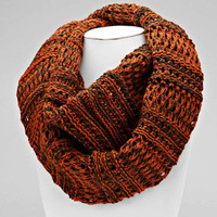 Cable Knit Orange Infinity Scarf