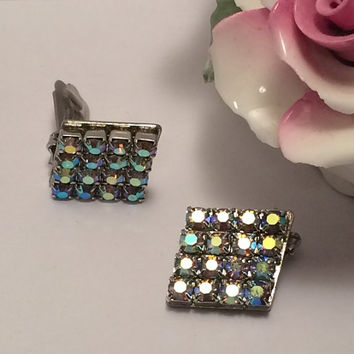 Vintage Aurora Borealis Rhinestone Clip On Earrings Diamond Shape Silver 1950s Bright Shiny Costume Film Stage Jewelry Making Supplies Blues