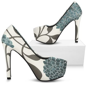 Blue High Heel Woman Shoes