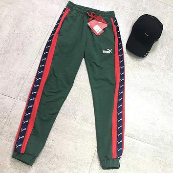 PUMA sports pants string standard pants men's sports trousers loose version women's casual couple pants green