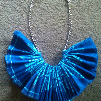 Pleated African Fabric Necklace,Bib Necklace,Fabric Necklace,African Necklace,Blue Necklace,Necklaces,Necklace