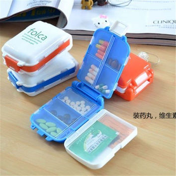 New Weekly Sort Folding Vitamin Medicine Drug Pill Box Makeup Storage Case Container Free Shipping