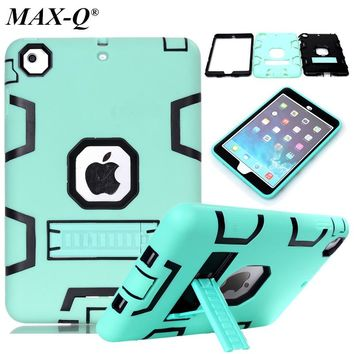Case For iPad mini 2 1 3 Retina Kids Safe Armor Shockproof Heavy Duty Silicone Hard PC Cover w/Screen Protector Film & Stylus