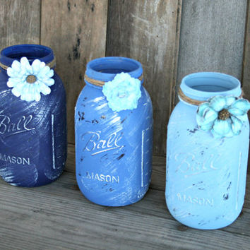 Home and Wedding Decor - Distressed Mason Jar, Vase or Organization - Blue