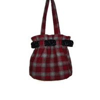 Red and Gray Plaid Round Womens Handbag Purse by AccursedDelights