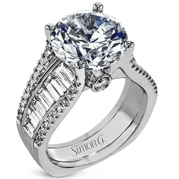 "Simon G. Large Center ""Cathedral Style"" Side Baguette Diamond Engagement Ring"