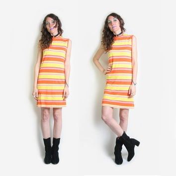 60s Striped Knit Shift Dress - Summer Dress - 60s Dress - Sleeveless - Striped Dress - Twiggy Dress - Hippie Hippy Mod Dress - Flower Child