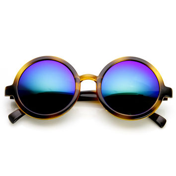 Retro Round Classic Flash Mirrored Lens Sunglasses 9311