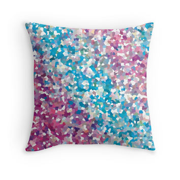 Blue and Purple Sparkly Winter Snow Abstract Art Throw Pillow by Christina Katson- Cute sparkly throw pillows,home decor, dorm,modern pillow