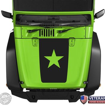 Freedom Star Hood Blackout Vinyl Decal Sticker fits: Jeep Wrangler JK TJ YJ