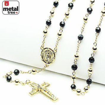 "Jewelry Kay style 14k Gold Plated 6mm Bead Guadalupe & Jesus Cross 28"" Rosary Necklace HR 600 GGBK"