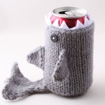 Monster Shark  for your Soda Can  Silver Grey  was by HandaMade