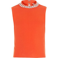 Girls orange embellished neck top