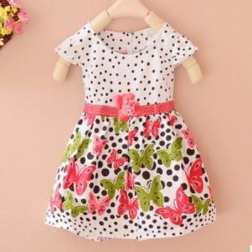 Baby Girls Kids Dresses Polka Dots Butterfly Princess One-piece Dress