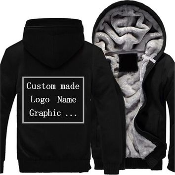 Logo Custom Men Print Hoodies Sweatshirt Winter Men Thicken Hoodies Professionally customized made printing Logo Graphic