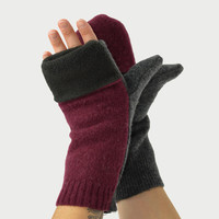 Convertible Mittens in Burgundy Wine and Charcoal Grey - Recycled Wool - Fleece Lined