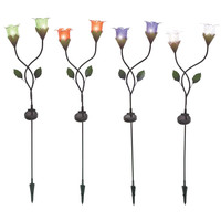 The Flowering Metal Solar Garden Stake 5 Assorted