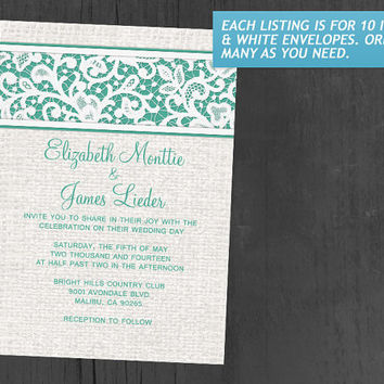 Turquoise Rustic Country Burlap & Linen Wedding Invitations | Invites | Invitation Cards