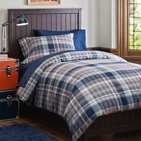 Cascade Plaid Duvet Bedding Bundle, Navy