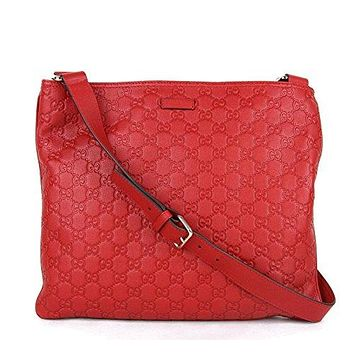 Gucci Women's Red Guccissima Leather Crossbody Messenger Bag 201446 6523