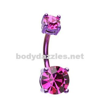Fuchsia Colorline Brilliant Sparkle Gem Prong Set Belly Button Ring Navel Ring 14ga