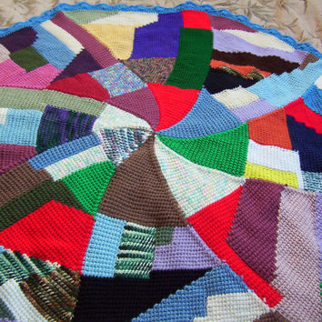 Hand Crocheted Tunisian Stitch Patchwork Round Afghan