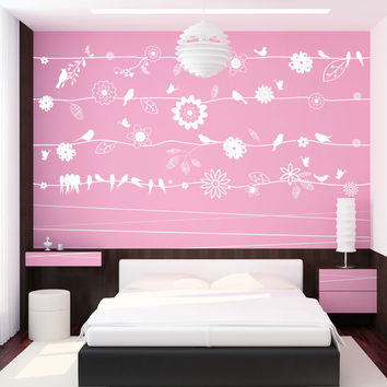 Vinyl Wall Decal Sticker Birds on Flower Vines #1015