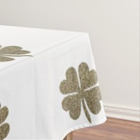 Clover Good Luck Symbol Gold Look Elegant Pattern Tablecloth