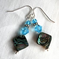 Abalone and Blue Crystal Earrings