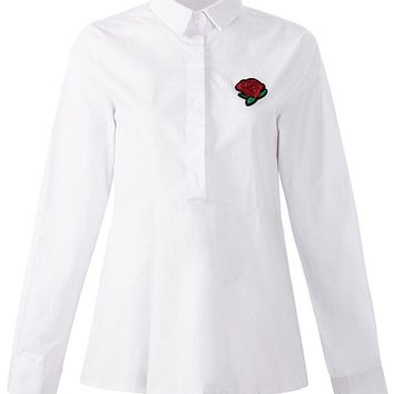White Embroidery Rose Long Sleeve Shirt