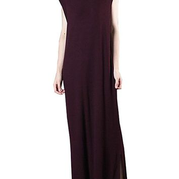Women's Purplish Red Jersey Dress Casual Loose Fitting One Size