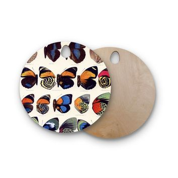 """Suzanne Carter """"Vintage Wings"""" Nature Black Round Wooden Cutting Board"""