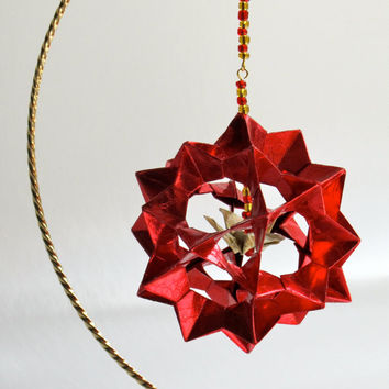 VALENTINE'S DAY Gift Home Décor Modular 3D Origami Star Ball, HANDMADe in Shimmery Metallic Red Paper on Gold Tone Ornament Stand OOaK