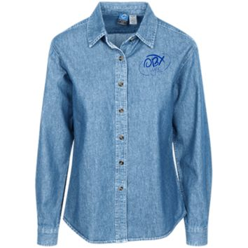Ocean Blue OBX Lyfe Port Authority Women's Long Sleeve Denim Shirt