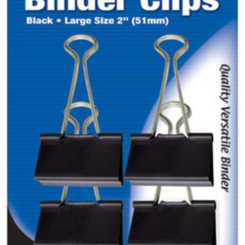"BAZIC Large 2"""" (51mm) Black Binder Clip (4/Pack) Case Pack 24"
