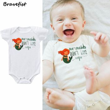 Lovely White Newborn Bodysuits Mermaid Print Baby Jumpsuits 0-24Months Summer Children Cotton Short Sleeve Onesuit Overalls 2018