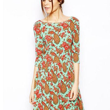 Green Peacock Print Half Sleeve A-line Pleated Mini Dress
