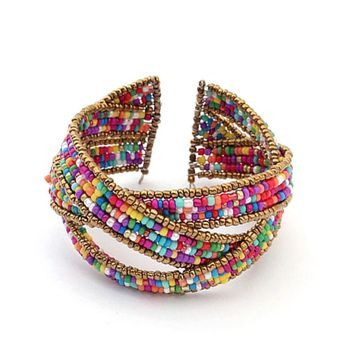 Vintage Bohemian Seed Beads Bracelets Fashion Opening Cuff Bangles Charming Braided Wrap Bracelets For Women Gift C3