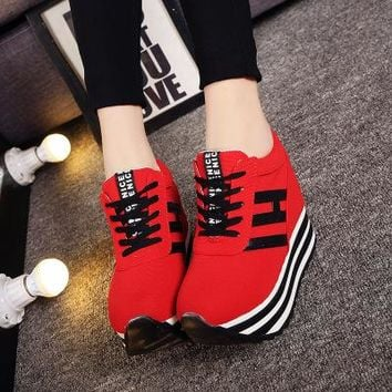 2018 Women Casual Platform Shoes High Heels Shoes Woman Wedges Women Shoes trainers Loafers Heigh Increasing zapatos mujer