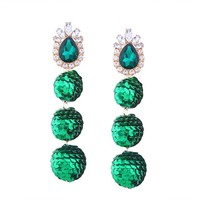 Shining Crystals and Sequin Long Ball Earrings